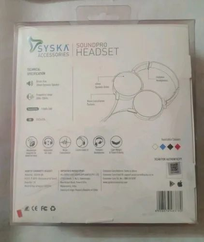Wired Samsung Syska Headset, Model Name/Number: Hs3100-bk, No