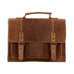 Laptop Vintage Handmade Full Grain Leather Messenger Bag for Men Women Flap Over Office Briefcase
