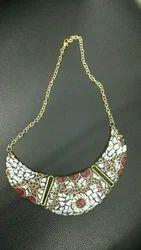 Brass Gemstone Necklace