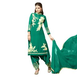 Green Colored Semi Stitched Salwar Suit