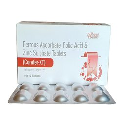 I Carb XT Ferrous Ascorbate, Folic Acid and Zinc Sulphate Tablets, Packaging Size: 10x10