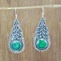 925 Sterling Silver Nice Designer Jewelry Emerald Gemstone Earring