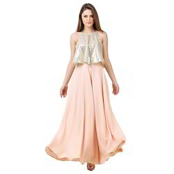 1865094a46 Light-Peach Maxi Dress With Sequin Top Overlapping