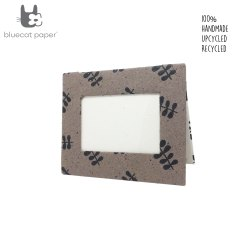 Photo frame - Coffee Brown and White, black twig leaf print.