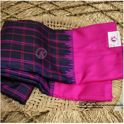 55615faa8becc Khushi Saree Blue And Pink Small Checks Gadwal Pattu Saree