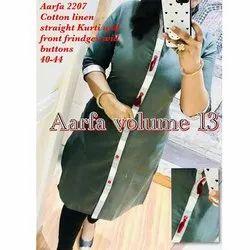 Aarfa 2207 Cotton Linen Straight Kurti