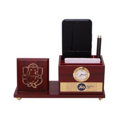 Wooden Table Pen Stand and Table Clock