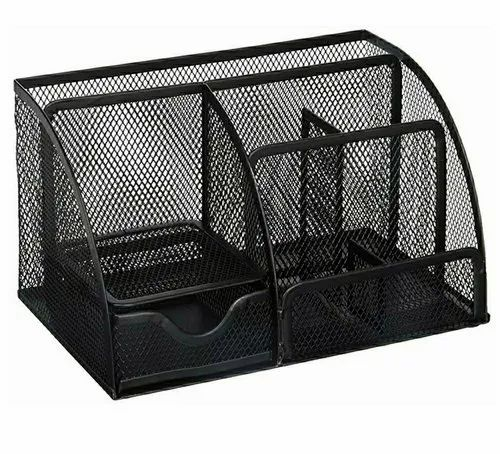 Klassic Stainless Steel Black Mesh Desk Organizer, for Office