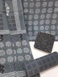 Bagru Ajrakh Hand Block Printed Cotton Dress Material With Cotton Dupatta.