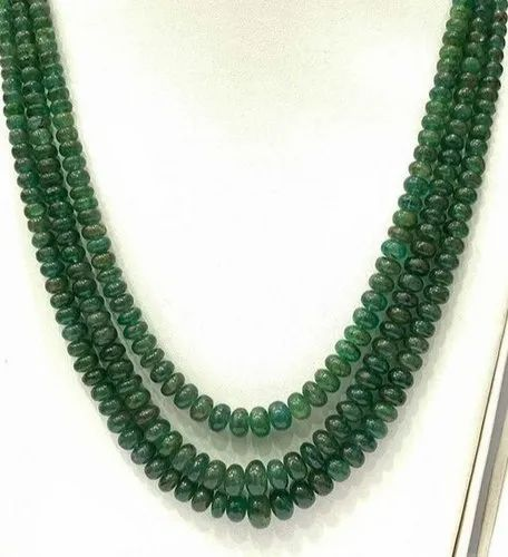 Roundel Natural Emerald Beaded Necklace