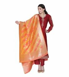 Pinkshink Womens Readymade Red Satin Indian And Pakistani Salwar Kameez With Banarasi Dupatta
