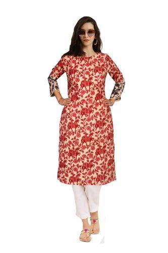1768b0b32 La  ethnic Cotton Red Animal Printed Kurti