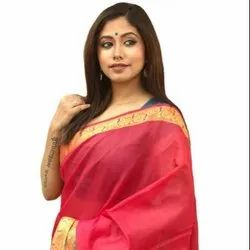 Formal Wear Heavy Jacquard Weaving New Cotton Sarees, With blouse piece, 5.50 Meter
