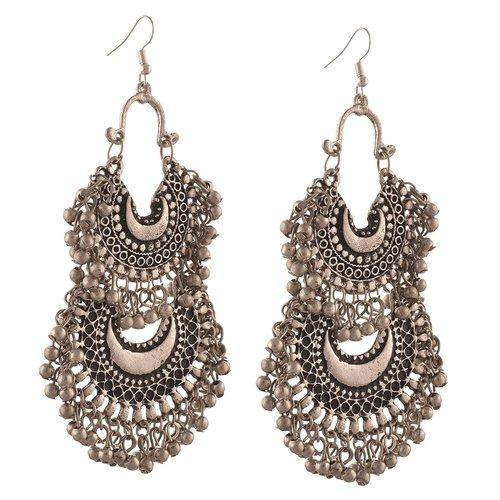 Afghani German Silver Turkish Style Beaded Chandbali Earrings for Women For  Womens 532e6165d0