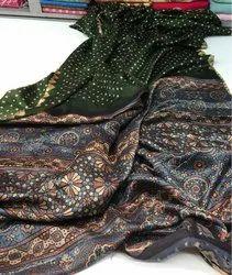 Cotton Block Print Casual Wear Saree, Length: 6.3 m