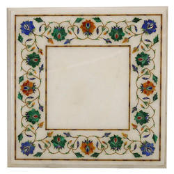 White Marble Inlay Table Top Beautiful Stone