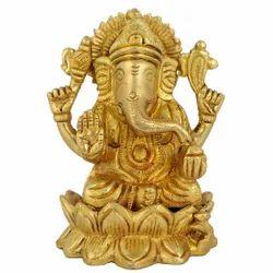 Jaipurcrafts Golden (Gold Plated) Brass Ganesh / Gold Plated / Religious Idol