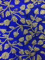 Blue Sequin Work Cotton Embroidered Fabric