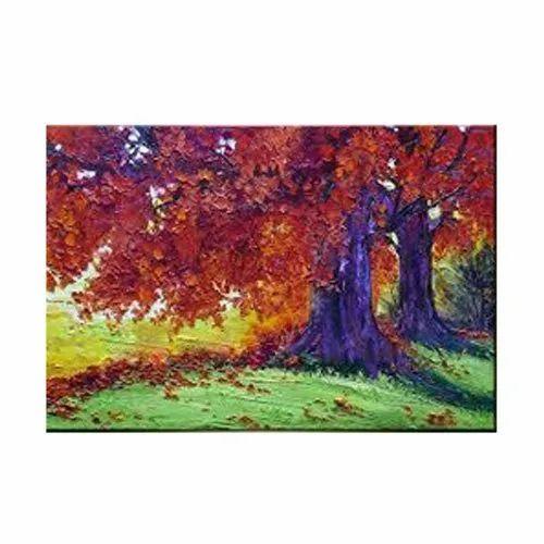 Modern Wooden Framed Canvas Watercolour Painting, Size: 3x4 Feet, Shape: Rectangular