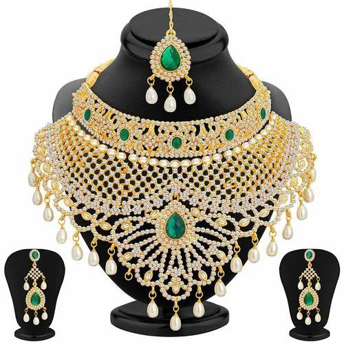 Latest Bridal Jewellery Sets American Diamond Bridal Necklace