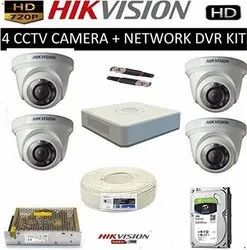 HIKVISION Full HD 2MP Cameras 4CH HD DVR 4 Dome Cameras Combo Kit, For Indoor Use