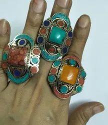 925 Silver Plated Turquoise Lapis Boho Bohemian Jewelry Bali Ring