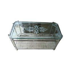 Rectangular Stainless Steel and Glass Table, Height: 1-2 feet