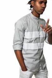 Designer Grey Full Sleeve Men Casual Cotton Shirt
