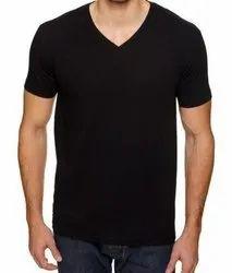 Cotton V Neck T-Shirt (biowashed), Size: Small