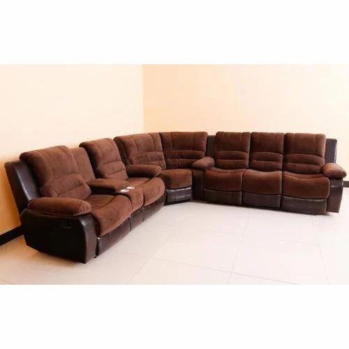 Brown Wood Six Seater Corner Sofa