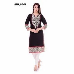 A-Line Black Ladies Kurti