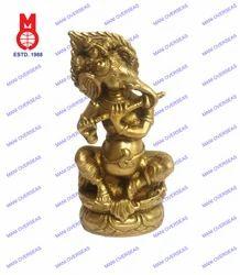 Lord Ganesh Sitting W/Flute Statue