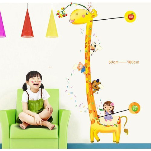 Multicolor Printed Giraffe Height Measurement Growth Chart Wall