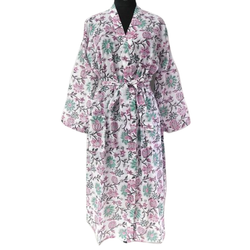 Chiffon Full Sleeve Hand Block Painted Cotton Nightgown, Size: S-xxl