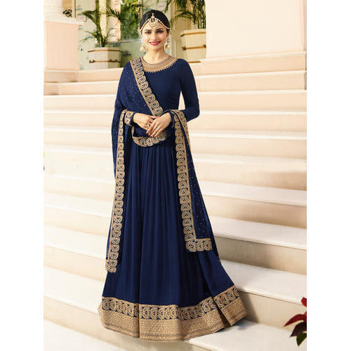 fad8e259fb4 Blue Embroidered Designer Anarkali Suit