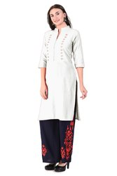 Both Side Button Kurti (White)
