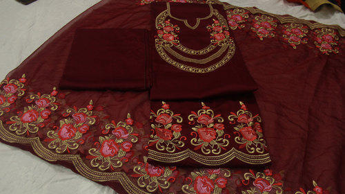 Cotton Wedding Wear Brown Embroidered Punjabi Suit Id 19788312673