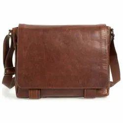 Brown Plain Leather Massenger Bag
