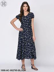 Ditsy Floral Print Blue Maxi Dress For Women