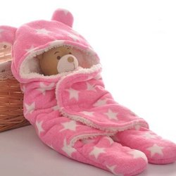 Little Cubs Pink Star Print Baby Blanket Cum Sleeping Bag