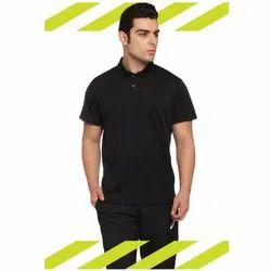 Black Plain Mens Collar T Shirts, Size: Small