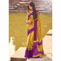 Silk Border Golden Saree, With Blouse Piece