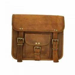 Slim Double Belt With Pocket Vintage Handmade Genuine Leather Handbag