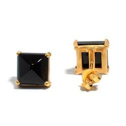 Black Onyx Cabo Beautiful Handmade Gold Micron Plated Pretty Earring Stud
