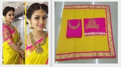 7fb2aad2a50 Embroidered Yellow Avsar Prints Summer Special Cotton Saree