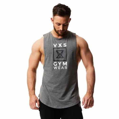 c38cfccd374 Printed Grey Mens Gym Wear Vest
