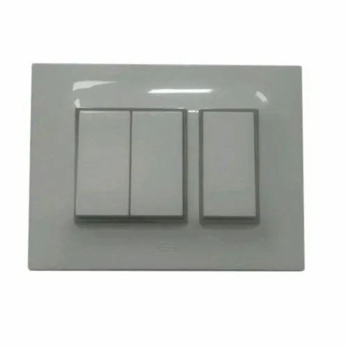 Vinay Polycarbonate Modular Switch, 220-240 V, Switch Size: 2 Module