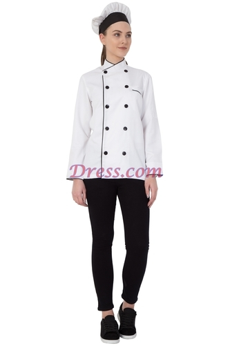 Women Chef Coat White With Black Piping And Cap