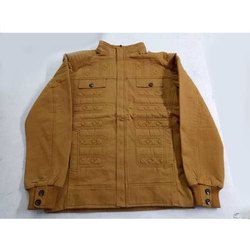 Plain Mens Light Brown Cotton Jacket, Size: L-XXL