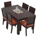 Brown Wooden Dining Set, Seating Capacity: 6, For Home